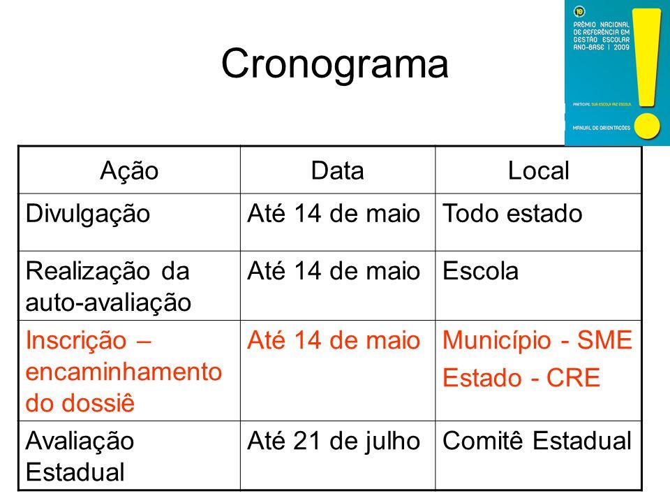 Cronograma Ação Data Local Divulgação Até 14 de maio Todo estado