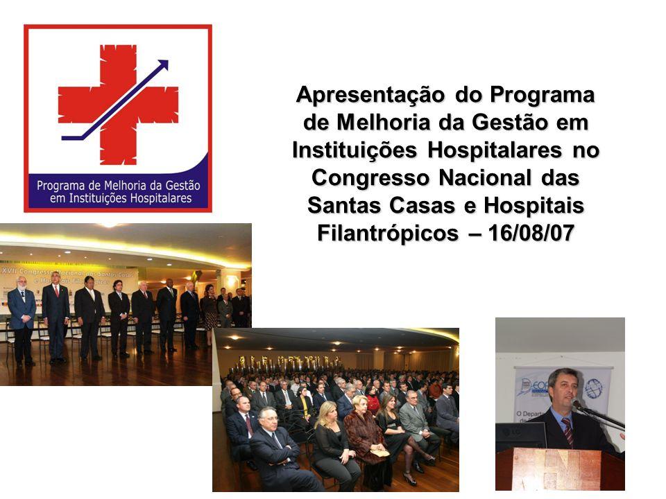Apresentação do Programa de Melhoria da Gestão em Instituições Hospitalares no Congresso Nacional das Santas Casas e Hospitais Filantrópicos – 16/08/07