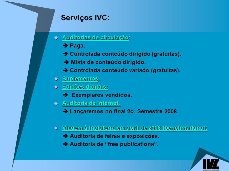 Serviços IVC: Auditorias de circulação:  Paga.