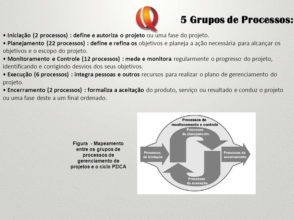 5 Grupos de Processos: • Iniciação (2 processos) : define e autoriza o projeto ou uma fase do projeto.