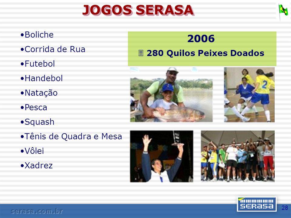 JOGOS SERASA 2006 Boliche Corrida de Rua  280 Quilos Peixes Doados