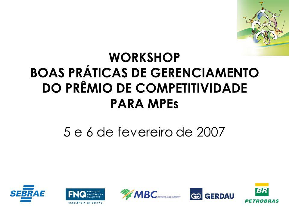 WORKSHOP BOAS PRÁTICAS DE GERENCIAMENTO DO PRÊMIO DE COMPETITIVIDADE PARA MPEs