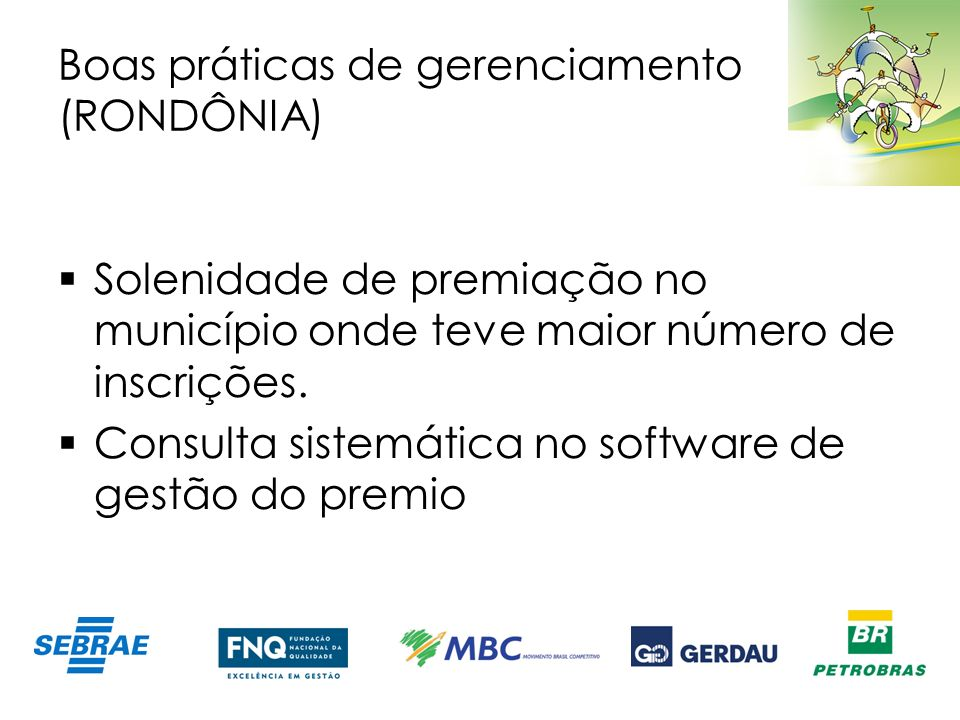 Boas práticas de gerenciamento (RONDÔNIA)