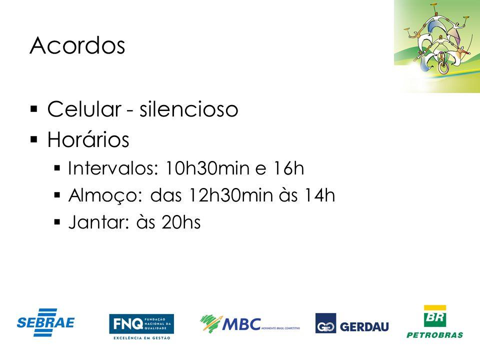 Acordos Celular - silencioso Horários Intervalos: 10h30min e 16h