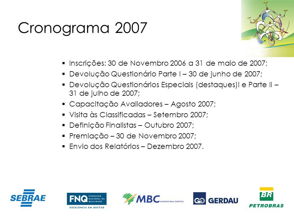Cronograma 2007 Inscrições: 30 de Novembro 2006 a 31 de maio de 2007;