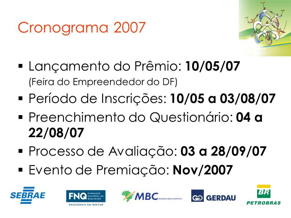 Cronograma 2007 Lançamento do Prêmio: 10/05/07