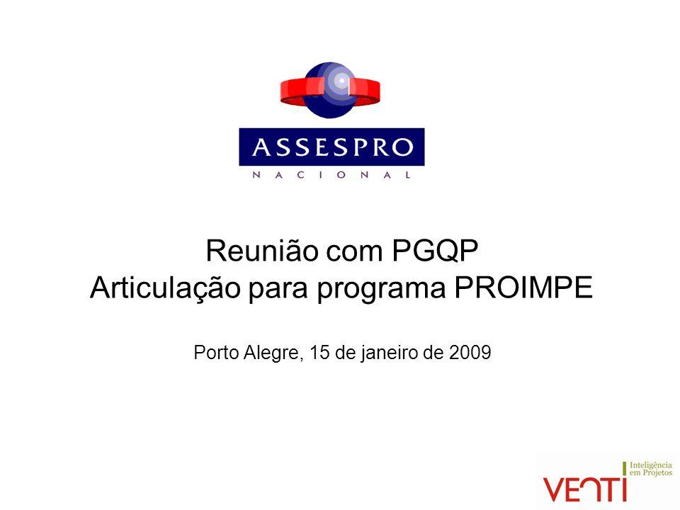 Reunião com PGQP Articulação para programa PROIMPE Porto Alegre, 15 de janeiro de 2009
