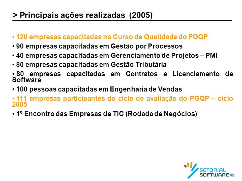 > Principais ações realizadas (2005)