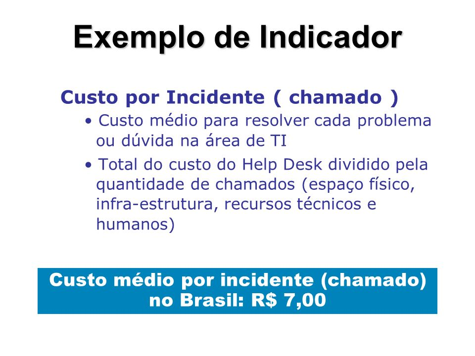 Custo médio por incidente (chamado) no Brasil: R$ 7,00