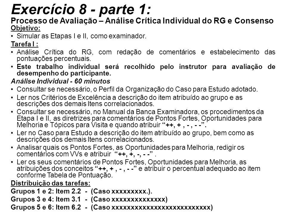 Exercício 8 - parte 1: Processo de Avaliação – Análise Crítica Individual do RG e Consenso