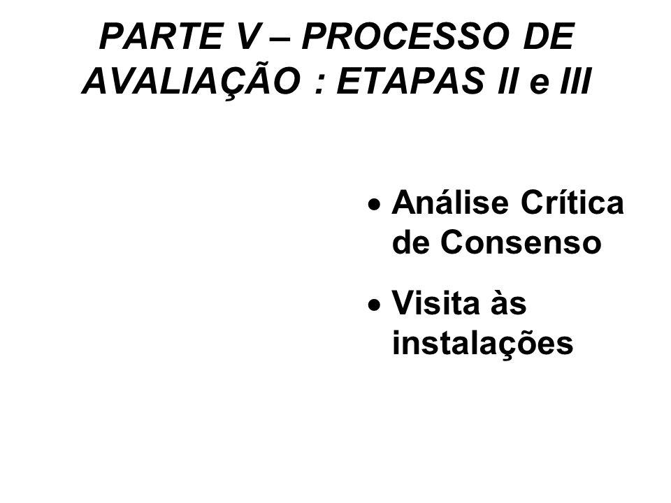 PARTE V – PROCESSO DE AVALIAÇÃO : ETAPAS II e III