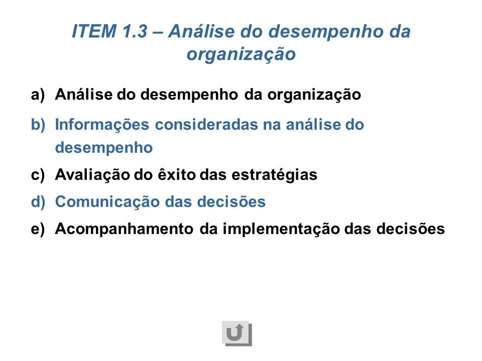 ITEM 1.3 – Análise do desempenho da organização