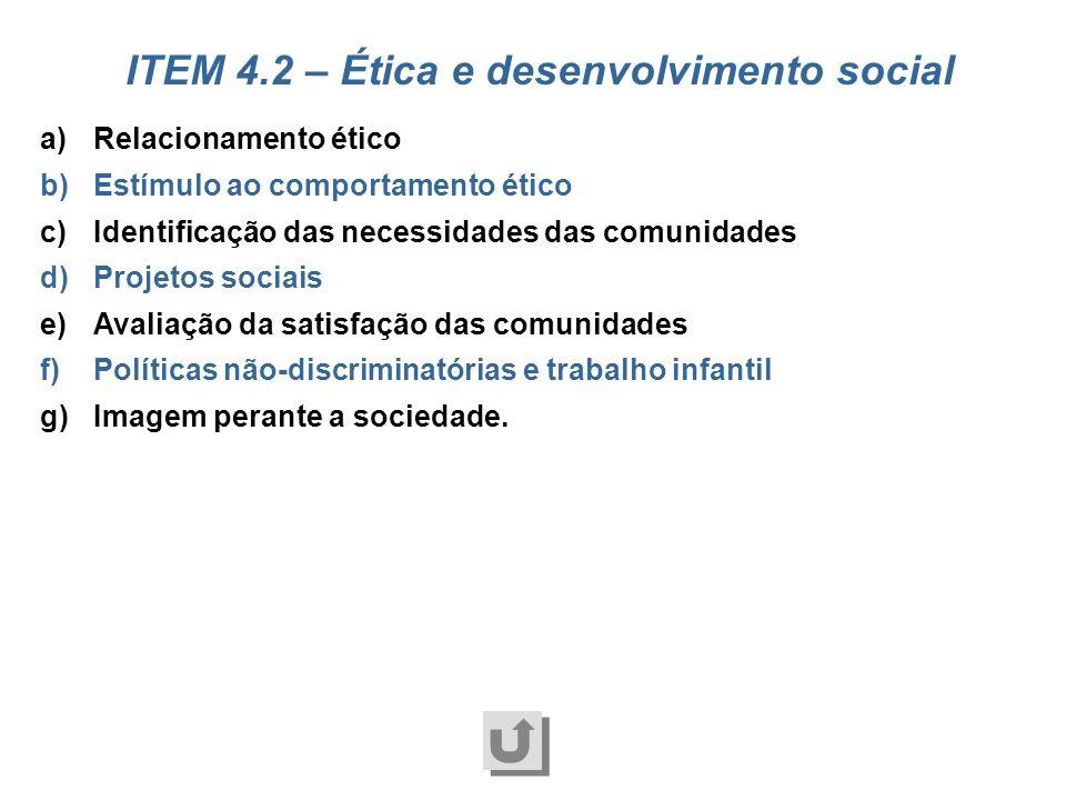 ITEM 4.2 – Ética e desenvolvimento social