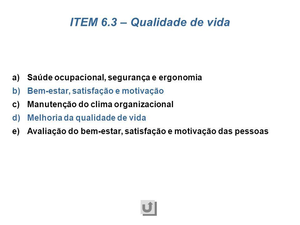 ITEM 6.3 – Qualidade de vida