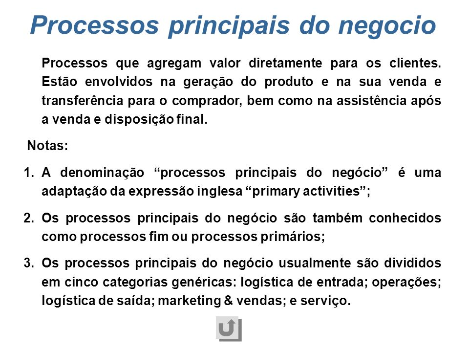 Processos principais do negocio