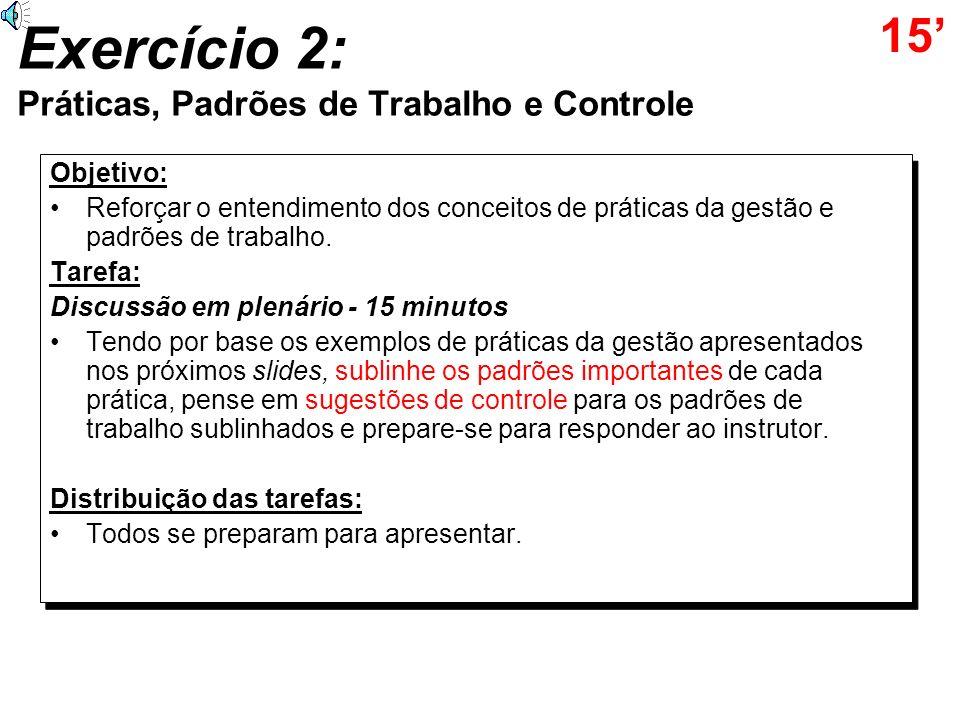 Exercício 2: Práticas, Padrões de Trabalho e Controle