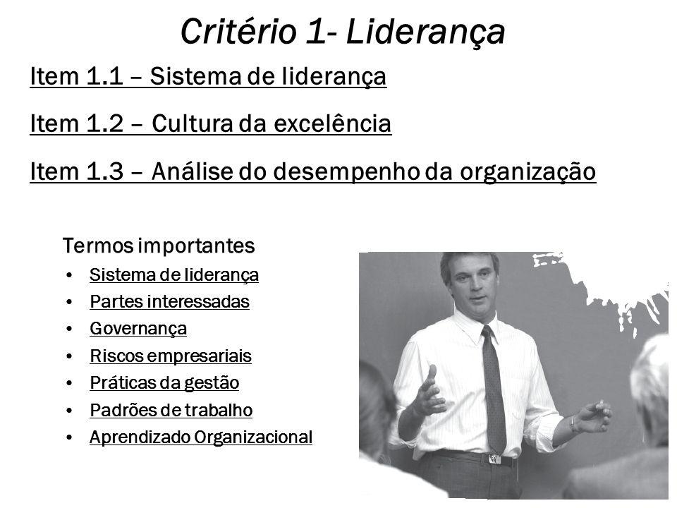 Critério 1- Liderança Item 1.1 – Sistema de liderança