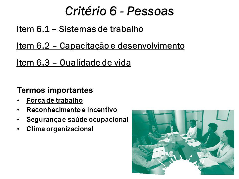 Critério 6 - Pessoas Item 6.1 – Sistemas de trabalho