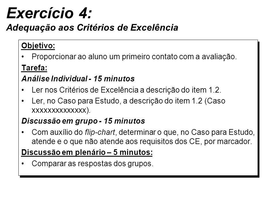 Exercício 4: Adequação aos Critérios de Excelência