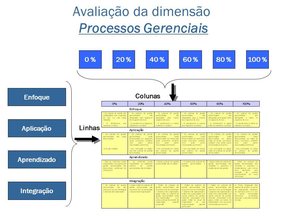 Avaliação da dimensão Processos Gerenciais