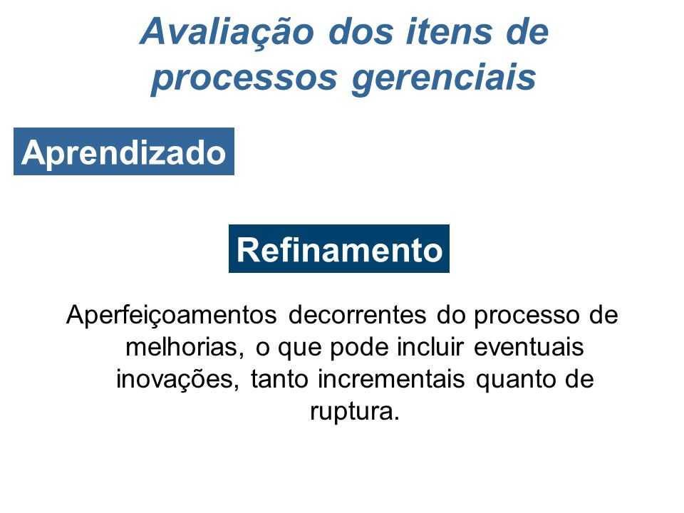 Avaliação dos itens de processos gerenciais