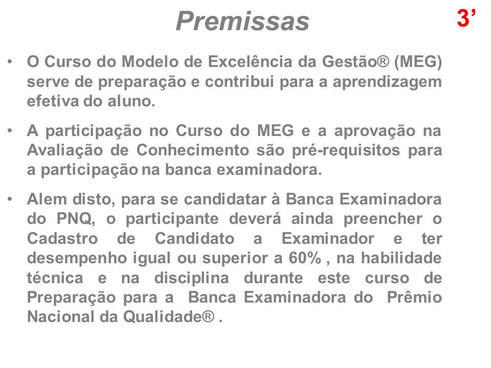 Premissas 3' O Curso do Modelo de Excelência da Gestão® (MEG) serve de preparação e contribui para a aprendizagem efetiva do aluno.