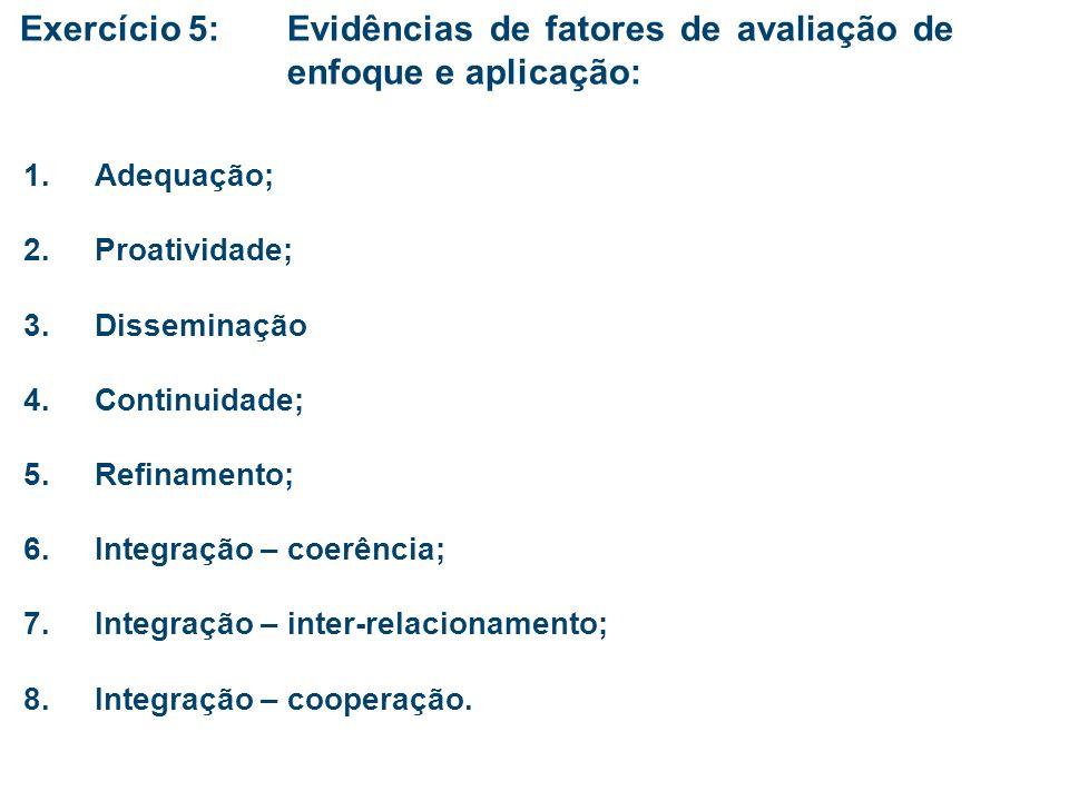 Exercício 5:. Evidências de fatores de avaliação de