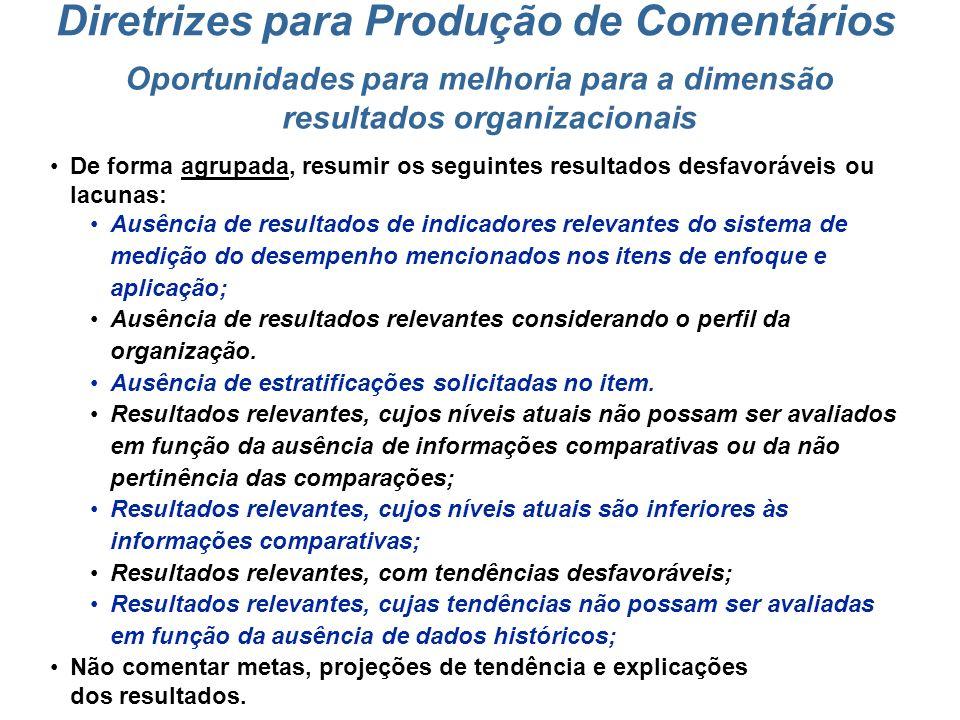Oportunidades para melhoria para a dimensão resultados organizacionais
