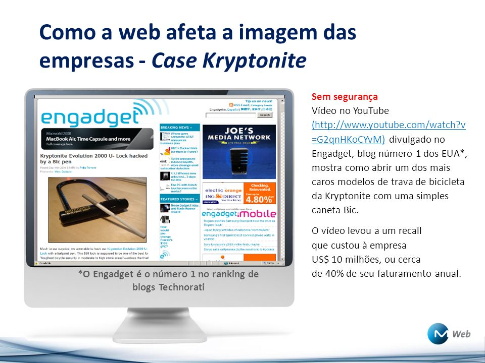 Como a web afeta a imagem das empresas - Case Kryptonite