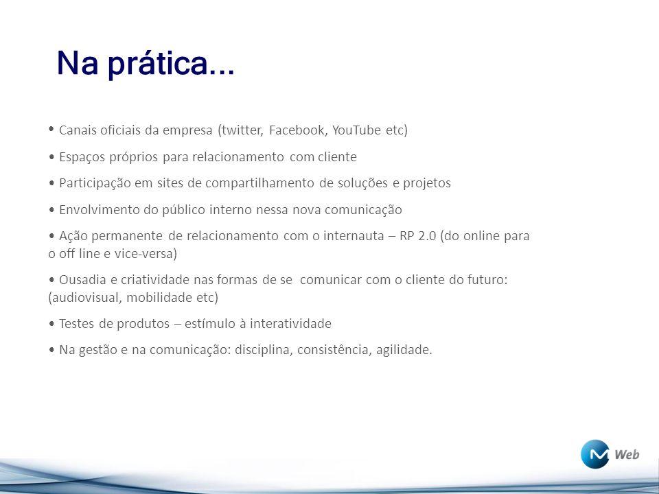 Na prática... Canais oficiais da empresa (twitter, Facebook, YouTube etc) Espaços próprios para relacionamento com cliente.