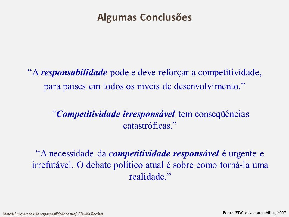 Algumas Conclusões A responsabilidade pode e deve reforçar a competitividade, para países em todos os níveis de desenvolvimento.
