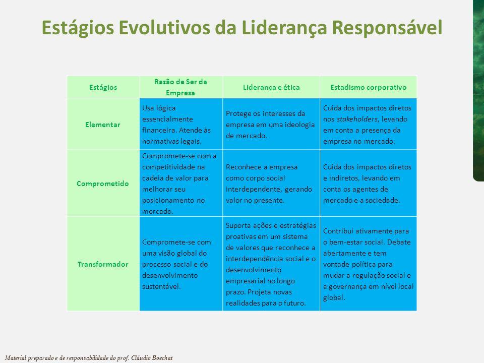 Estágios Evolutivos da Liderança Responsável Estadismo corporativo