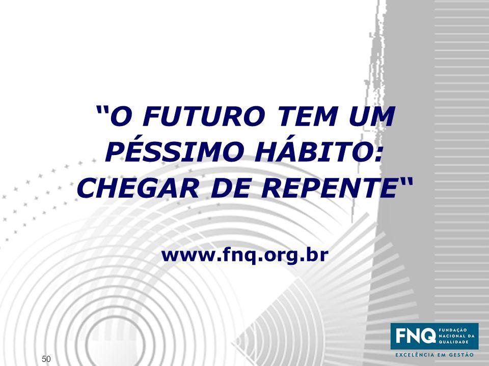 O FUTURO TEM UM PÉSSIMO HÁBITO: CHEGAR DE REPENTE www.fnq.org.br