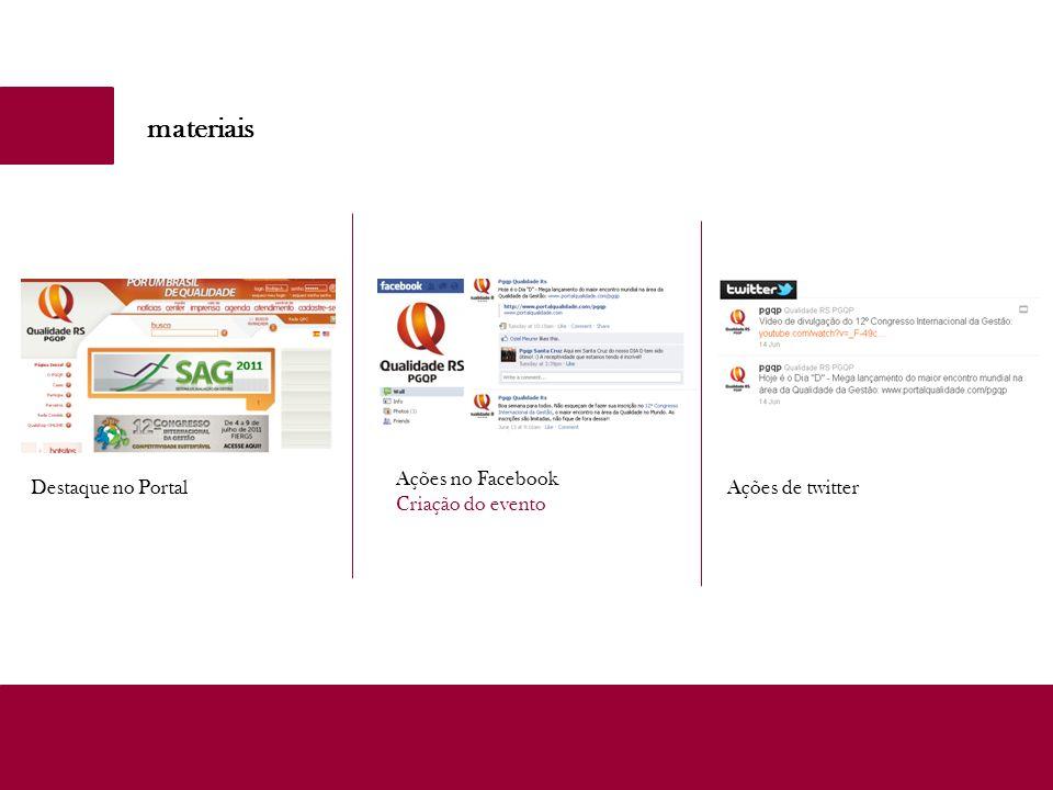 materiais Ações no Facebook Criação do evento Destaque no Portal