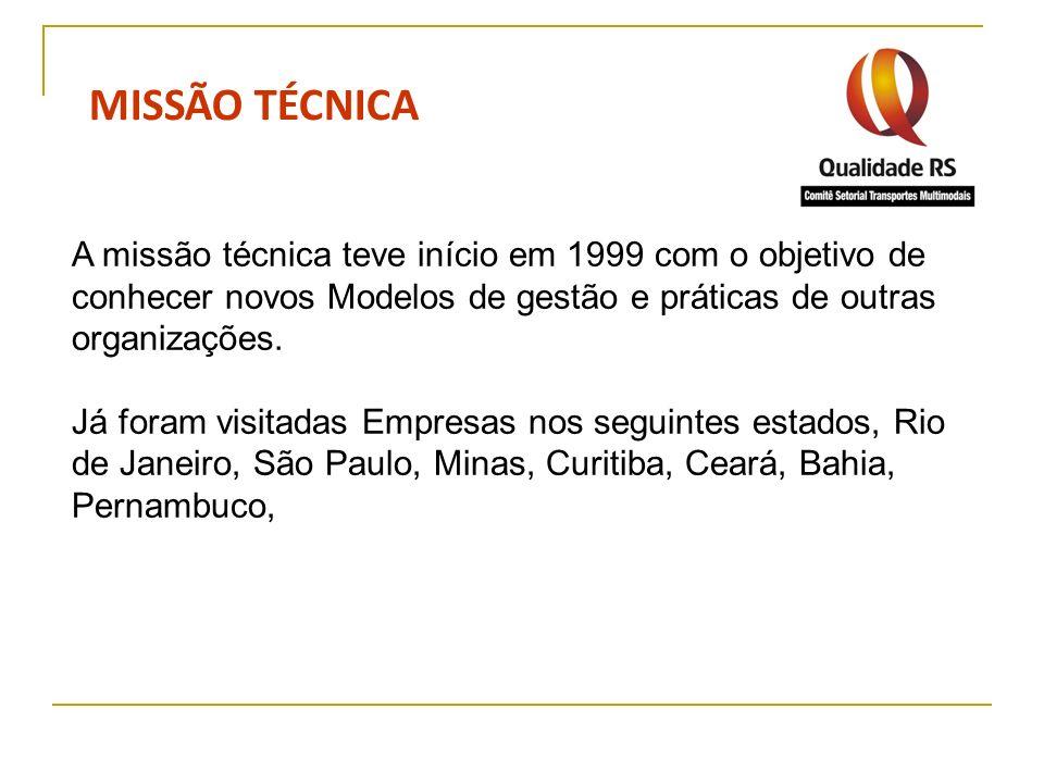 MISSÃO TÉCNICAA missão técnica teve início em 1999 com o objetivo de conhecer novos Modelos de gestão e práticas de outras organizações.