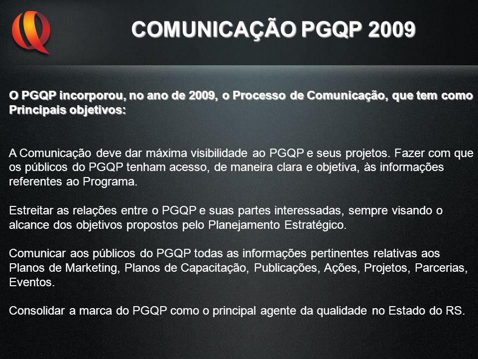 COMUNICAÇÃO PGQP 2009 O PGQP incorporou, no ano de 2009, o Processo de Comunicação, que tem como. Principais objetivos: