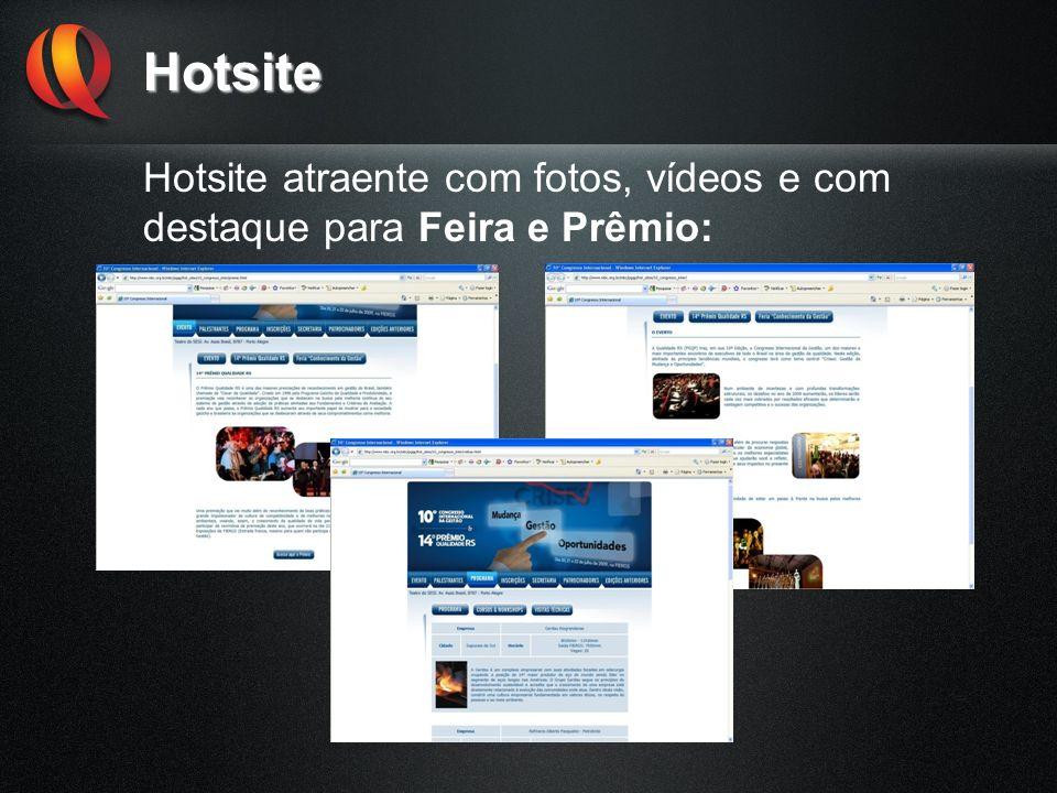 Hotsite Hotsite atraente com fotos, vídeos e com destaque para Feira e Prêmio: