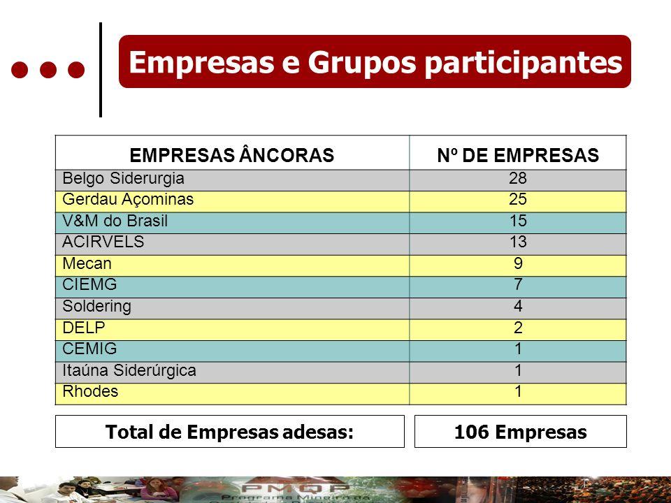 Empresas e Grupos participantes Total de Empresas adesas: