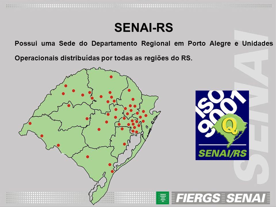 SENAI-RS Possui uma Sede do Departamento Regional em Porto Alegre e Unidades Operacionais distribuídas por todas as regiões do RS.