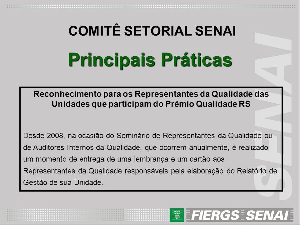 Principais Práticas COMITÊ SETORIAL SENAI