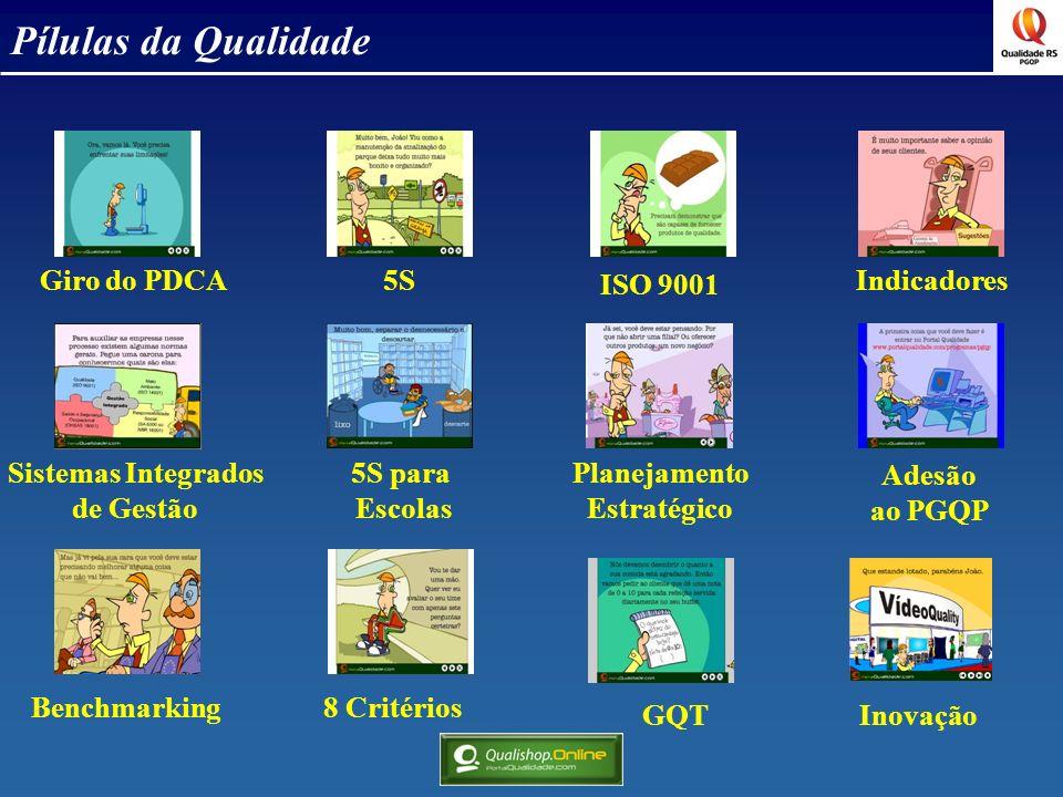 Pílulas da Qualidade Giro do PDCA 5S ISO 9001 Indicadores