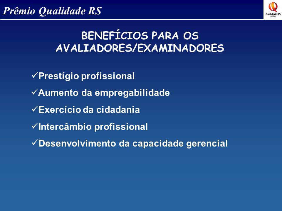 BENEFÍCIOS PARA OS AVALIADORES/EXAMINADORES