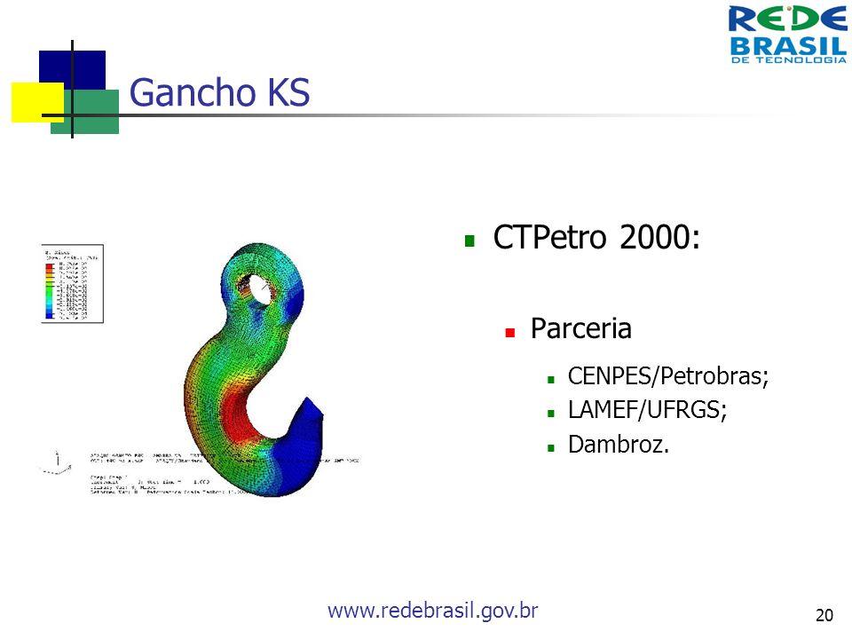 Gancho KS CTPetro 2000: Parceria CENPES/Petrobras; LAMEF/UFRGS;