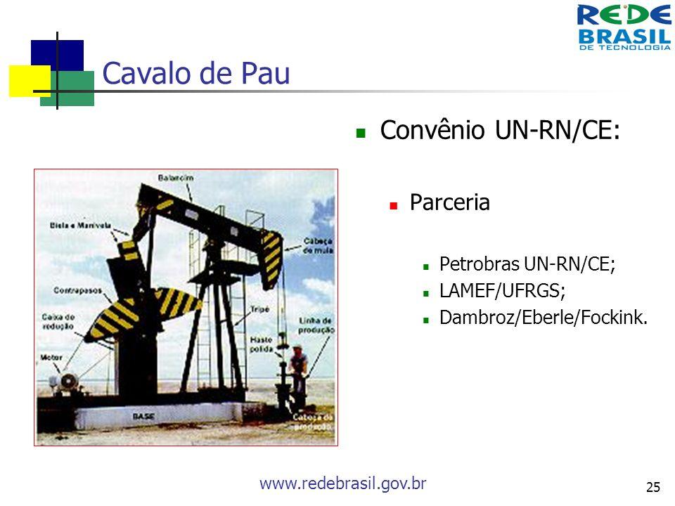 Cavalo de Pau Convênio UN-RN/CE: Parceria Petrobras UN-RN/CE;