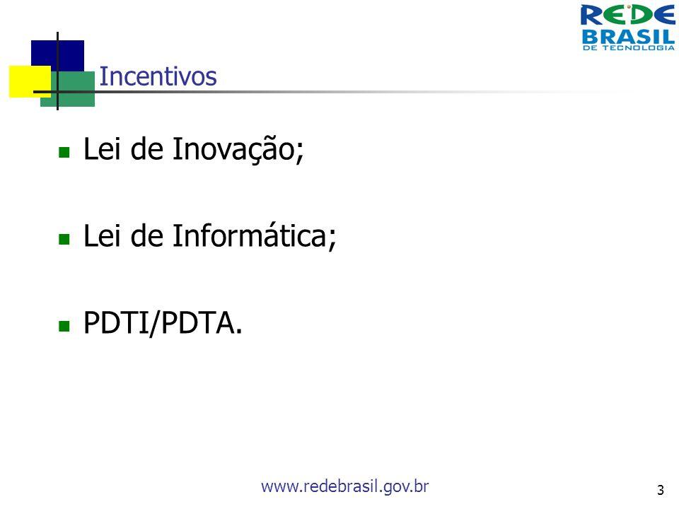 Incentivos Lei de Inovação; Lei de Informática; PDTI/PDTA.