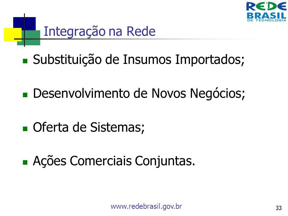 Integração na Rede Substituição de Insumos Importados; Desenvolvimento de Novos Negócios; Oferta de Sistemas;