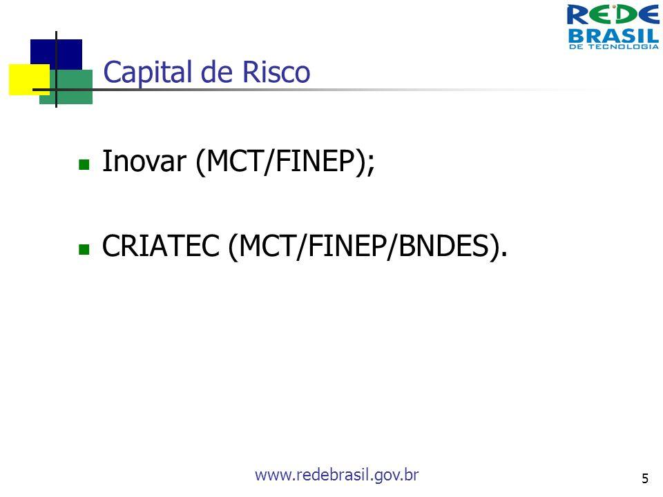 Capital de Risco Inovar (MCT/FINEP); CRIATEC (MCT/FINEP/BNDES).