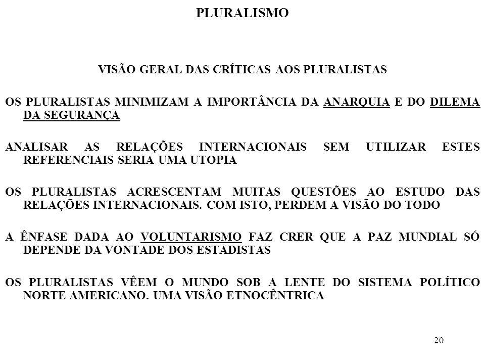 VISÃO GERAL DAS CRÍTICAS AOS PLURALISTAS