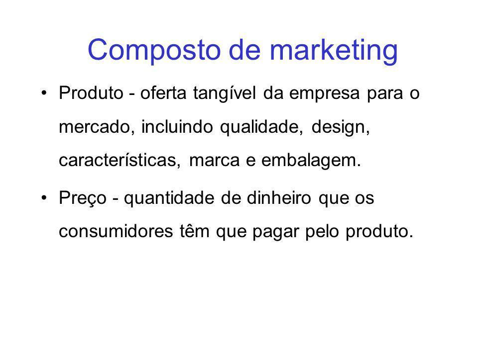 Composto de marketing Produto - oferta tangível da empresa para o mercado, incluindo qualidade, design, características, marca e embalagem.