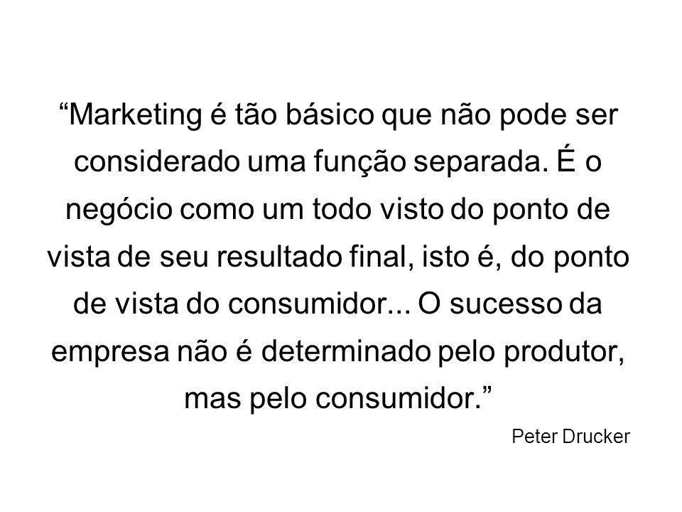 Marketing é tão básico que não pode ser considerado uma função separada. É o negócio como um todo visto do ponto de vista de seu resultado final, isto é, do ponto de vista do consumidor... O sucesso da empresa não é determinado pelo produtor, mas pelo consumidor.